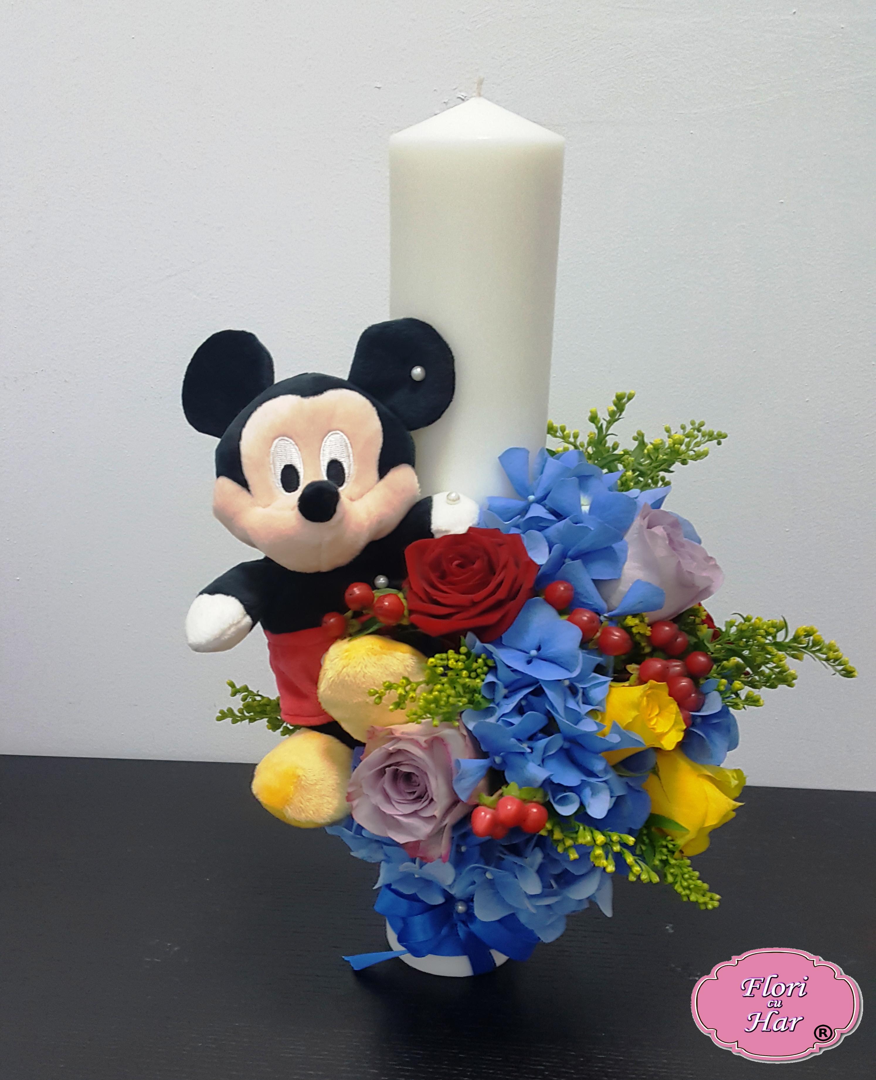 Lumanare Botez Mickey Mouse Baiatfata 40 Cm Flori Cu Har